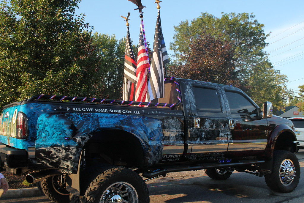 . Kristi Garabrandt � The News-Herald <br> The Patriot also known as the Black Beast,  is owned by Ed and Kathy Williams, who were part of the motorcade escorting the Moving Wall from LaMalfa in Mentor to Perry High School, Sept. 21.