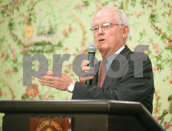 photo by Sarah A. Miller/Tyler Morning Telegraph  The Honorable Bill Ratliff, former Lieutenant Governor of Texas, speaks at the Leaders in Education Luncheon Thursday at Willow Brook County Club in Tyler.