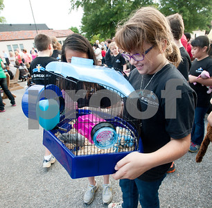photo by Sarah A. Miller/Tyler Morning Telegraph  Fifth grader Amelia Ministrelli, 10, brings her dwarf hamster Sammy to St. Gregory Cathedral school's annual pet blessing Thursday in Tyler. Father Anthony McLaughlin, rector of Cathedral of the Immaculate Conception in Tyler led the ceremony. Students and their family members brought pets ranging from cats and dogs to turtles and even horses.