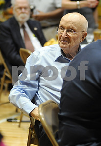 photo by Sarah A. Miller/Tyler Morning Telegraph  Meals On Wheels volunteer and retiring board member Hugh Denson is honored during the 38th anniversary luncheon fundraiser Wednesday at First Christian Church in Tyler. Meals on Wheels provides meals to homebound elderly and disabled people.