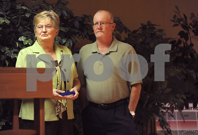 photo by Sarah A. Miller/Tyler Morning Telegraph  Meals On Wheels volunteers Iris and Roger Daughtry are honored during the 38th anniversary luncheon fundraiser Wednesday at First Christian Church in Tyler. Meals on Wheels provides meals to homebound elderly and disabled people.