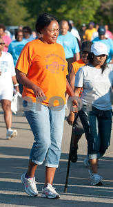 Sherry Mosley of St. Violet Baptist walks in the annual Community Faith-Based Health Walk to promote living a healthy lifestyle Saturday Oct. 10, 2015 at Woldert Park in Tyler. Nearly 200 people completed the one and a half mile walk starting and ending at the park.  (Sarah A. Miller/Tyler Morning Telegraph)