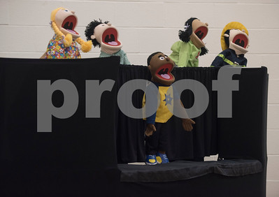 Linda firefighters put on a puppet show at Lindale Independent School District's Velma Penny Elementary  during a Fire Prevention Week educational program put on by the Lindale Volunteer Fire Department Wednesday Oct. 11, 2017.  (Sarah A. Miller/Tyler Morning Telegraph)
