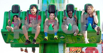 Children enjoy a ride at the East Texas State Fair in Tyler, Texas Thursday evening Oct. 1, 2015. The fair closes Sunday night.  (Sarah A. Miller/Tyler Morning Telegraph)