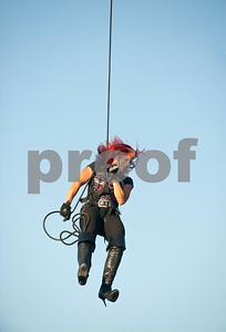 Escape show artist Lady Houdini Kristen Johnson performs at the East Texas State Fair in Tyler, Texas Thursday evening Oct. 1, 2015. The fair closes Sunday night.  (Sarah A. Miller/Tyler Morning Telegraph)