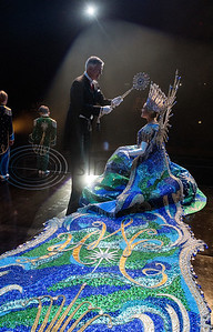 """Texas Rose Festival President Britton Brookshire crowns Queen Hanna Claire Waits during rehearsal for the Queen's Coronation at the Cowan Center in Tyler on Thursday Oct. 17, 2019. The festival celebrates the rose growing history of Tyler. Elaborate gowns worn by the Queen and her court were designed by Winn Morton under the theme """"Portraits of Inspiration.""""  (Sarah A. Miller/Tyler Morning Telegraph)"""