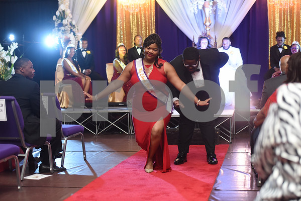 Mr. and Miss Library Club, DeAreon Johnson and Christiana Francis bow to the audience during the Miss Texas College coronation ceremony Thursday Oct. 20, 2016.    (Sarah A. Miller/Tyler Morning Telegraph)