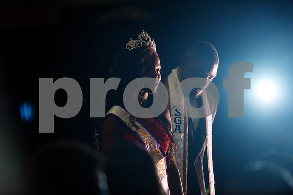 Miss UNCF Ke'Shonda Arnold and Student Government Association president Terence Washington take the stage   during the Miss Texas College coronation ceremony Thursday Oct. 20, 2016.    (Sarah A. Miller/Tyler Morning Telegraph)