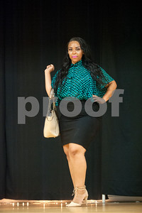 Texas College student Nicosha Clayborne strikes a pose during the Business Chic fashion category of the Miss Big, Bold and Beautiful Pageant held Wednesday night Oct. 21, 2015 at Martin Auditorium on campus in Tyler, Texas.   (Sarah A. Miller/Tyler Morning Telegraph)