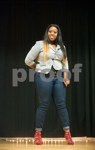 Texas College student Jakkiea Mckinney poses in her business chic attire during the Miss Big, Bold and Beautiful Pageant held Wednesday night Oct. 21, 2015 at Martin Auditorium on campus in Tyler, Texas.   (Sarah A. Miller/Tyler Morning Telegraph)