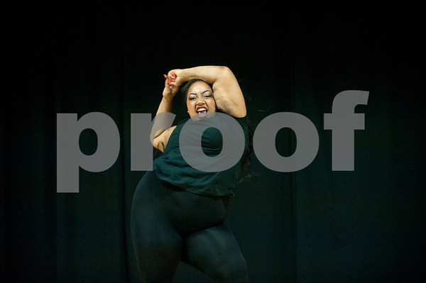 Texas College student Desiree Webb dances in the talent category of the Miss Big, Bold and Beautiful Pageant held Wednesday night Oct. 21, 2015 at Martin Auditorium on campus in Tyler, Texas.   (Sarah A. Miller/Tyler Morning Telegraph)