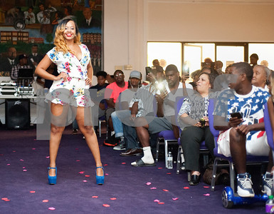 Texas College student Kayla Cockwell walks down the aisle in her express yourself category outfit during the Miss Big, Bold and Beautiful Pageant held Wednesday night Oct. 21, 2015 at Martin Auditorium on campus in Tyler, Texas.   (Sarah A. Miller/Tyler Morning Telegraph)