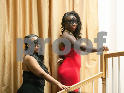 Texas College students Nicosha Clayborne and Kailyn Nunnery wait to take the stage for the opening number of the Miss Big, Bold and Beautiful Pageant held Wednesday night Oct. 21, 2015 at Martin Auditorium on campus in Tyler, Texas.   (Sarah A. Miller/Tyler Morning Telegraph)