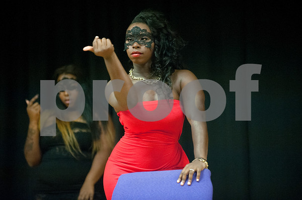 Texas College students Jakkiea Mckinney and Kailyn Nunnery dance in the opening number of the Miss Big, Bold and Beautiful Pageant held Wednesday night Oct. 21, 2015 at Martin Auditorium on campus in Tyler, Texas.   (Sarah A. Miller/Tyler Morning Telegraph)