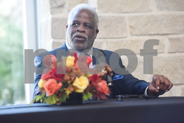 Earl Campbell speaks during a Thursday press conference at Texas Spine & Joint Hospital announcing a new partnership called the Project Rose Research Institute. The program will be located on the second floor of the hospital and is anticipated to open in 2017.  (Sarah A. Miller/Tyler Morning Telegraph)