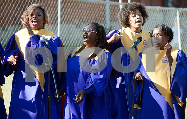 photo by Sarah A. Miller/Tyler Morning Telegraph  The Texas College choir performs at a groundbreaking ceremony for the first phase of a proposed four phase building and renovation plan for Texas College Thursday Oct. 30, 2014 in Tyler, Texas. The college will be constructing a new residence hall for students.