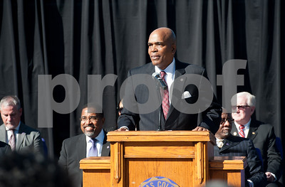 photo by Sarah A. Miller/Tyler Morning Telegraph  Texas College president Dwight Fennell addresses the audience at a groundbreaking ceremony for the first phase of a proposed four phase building and renovation plan for Texas College Thursday Oct. 30, 2014 in Tyler, Texas. The college will be constructing a new residence hall for students.