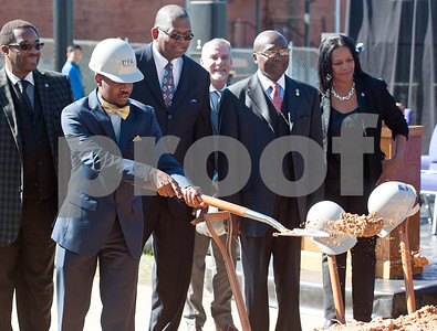 photo by Sarah A. Miller/Tyler Morning Telegraph  Texas College Student Government Association president Jeremiah Eutsey lifts dirt with his shovel as part of the groundbreaking ceremony for the first phase of a proposed four phase building and renovation plan for Texas College Thursday Oct. 30, 2014 in Tyler, Texas. The college will be constructing a new residence hall for students.