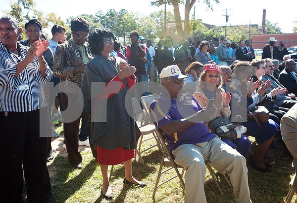 photo by Sarah A. Miller/Tyler Morning Telegraph  People applaud at the conclusions of the groundbreaking ceremony for the first phase of a proposed four phase building and renovation plan for Texas College Thursday Oct. 30, 2014 in Tyler, Texas. The college will be constructing a new residence hall for students.