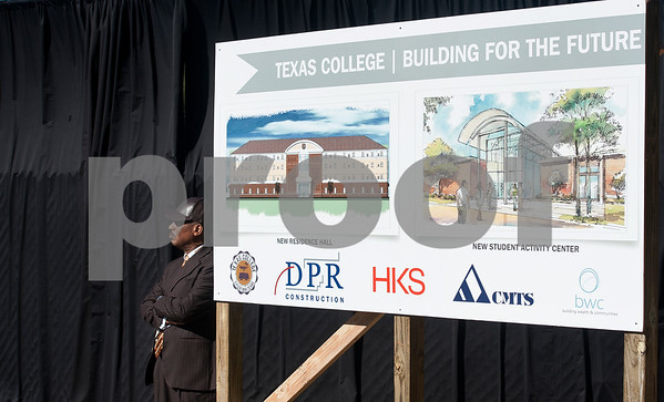 photo by Sarah A. Miller/Tyler Morning Telegraph  Texas College chaplain Rev. Willie C. Champion stands next to renderings of a new residence hall and remodeled student activity center during a groundbreaking ceremony for the first phase of a proposed four phase building and renovation plan for Texas College Thursday Oct. 30, 2014 in Tyler, Texas. The college will be constructing a new residence hall for students.