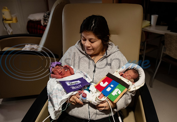 Daisy Najera, 28, of Mount Pleasant, holds her 6-day-old twins Alexis May Davis and Jessie Davis as they'r dressed as peanut butter and jelly for Halloween at the Neonatal Intensive Care Unit (NICU) at Christus Trinity Mother Frances Hospital-Tyler on Wednesday, Oct. 30, 2019. NICU nurses provided free costumes for each child in the NICU for their first Halloween.  (Sarah A. Miller/Tyler Morning Telegraph)