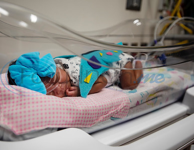Six-week-old Kandace (no last name given) wears a felt butterfly costume at the Neonatal Intensive Care Unit (NICU) at Christus Trinity Mother Frances Hospital-Tyler on Wednesday, Oct. 30, 2019. NICU nurses provided free costumes for each child in the NICU for their first Halloween.  (Sarah A. Miller/Tyler Morning Telegraph)