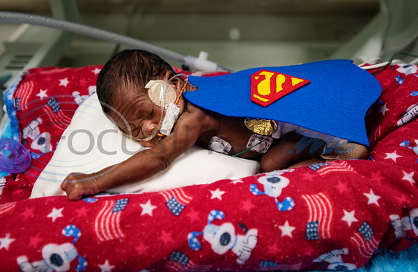 Two-pound, 11 ounce Semaj (no last name given) wears a Superman costume at the Neonatal Intensive Care Unit (NICU) at Christus Trinity Mother Frances Hospital-Tyler on Wednesday, Oct. 30, 2019. NICU nurses provided free costumes for each child in the NICU for their first Halloween.  (Sarah A. Miller/Tyler Morning Telegraph)