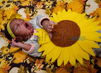Aubrey Williams, 2-weeks-old, yawns as she dons a felt sunflower costume at the Neonatal Intensive Care Unit (NICU) at Christus Trinity Mother Frances Hospital-Tyler on Wednesday, Oct. 30, 2019. NICU nurses provided free costumes for each child in the NICU for their first Halloween.  (Sarah A. Miller/Tyler Morning Telegraph)