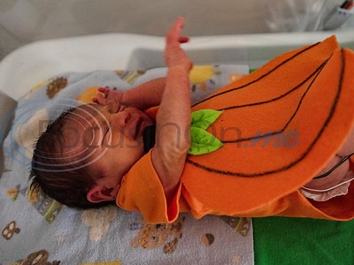 A baby wears a pumpkin costume at the Neonatal Intensive Care Unit (NICU) at Christus Trinity Mother Frances Hospital-Tyler on Wednesday, Oct. 30, 2019. NICU nurses provided free costumes for each child in the NICU for their first Halloween.  (Sarah A. Miller/Tyler Morning Telegraph)