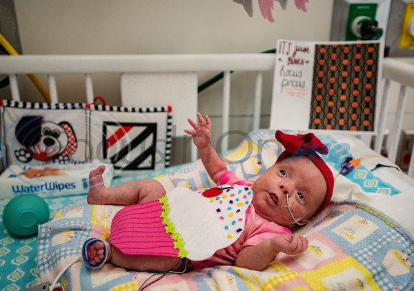Two-month-old Charlotte Brewer of Athens wears a felt cupcake costume at the Neonatal Intensive Care Unit (NICU) at Christus Trinity Mother Frances Hospital-Tyler on Wednesday, Oct. 30, 2019. NICU nurses provided free costumes for each child in the NICU for their first Halloween.  (Sarah A. Miller/Tyler Morning Telegraph)