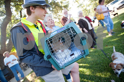 Jimmy Tollett, 12, holds his cat Butterscotch as he waits for his father, the Rev. Mitch Tollett, to bless the animal in the front lawn of St. Francis Episcopal Church, 3232 Jan Ave., in Tyler Saturday morning. Many Episcopal churches hold a special ceremony to bless pets and animals on or near the feast day of St. Francis of Assisi.  (Sarah A. Miller/Tyler Morning Telegraph)