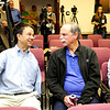 Dr. Eric Cornell (L), Nobel Prize winner in 2001, and U.S. physicist David Wineland (R) joke before the start of a news conference in Boulder, Colorado after learning he and Serge Haroche of France were awarded the 2012 Nobel Prize in Physics, October 9, 2012.  The two men were awarded the prize for finding ways to measure quantum particles without destroying them, which could make it possible to build a new kind of computer far more powerful than any seen before.  DAILY CAMERA/ Mark Leffingwell