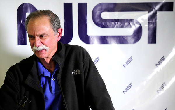 David Wineland speaks to reporters at a news conference in Boulder, Colorado after learning he and Serge Haroche of France were awarded the 2012 Nobel Prize in Physics, October 9, 2012.  The two men were awarded the prize for finding ways to measure quantum particles without destroying them, which could make it possible to build a new kind of computer far more powerful than any seen before.  DAILY CAMERA/ Mark Leffingwell