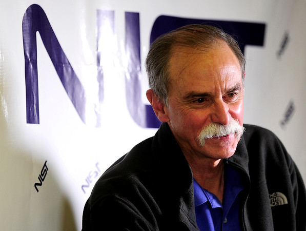 David Wineland speaks to reporters at a news conference in Boulder, Colorado after learning he and Serge Haroche of France were awarded the 2012 Nobel Prize in Physics, October 9, 2012.  The two men were awarded the prize for finding ways to measure quantum particles without destroying them, which could make it possible to build a new kind of computer far more powerful than any seen before.  DAILY CAMERA/<br /> Mark Leffingwell