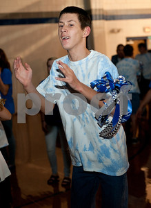 Justace Gentry, 16, dances during a special homecoming dance at Lindale High School Friday for 16 students with physical or mental handicaps. It was Lindale's first homecoming dance for special needs students.   (Sarah A. Miller/Tyler Morning Telegraph)