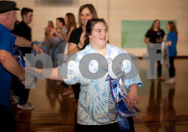 Hannah Irwin 18, dances during a special homecoming dance at Lindale High School Friday for 16 students with physical or mental handicaps. It was Lindale's first homecoming dance for special needs students.   (Sarah A. Miller/Tyler Morning Telegraph)