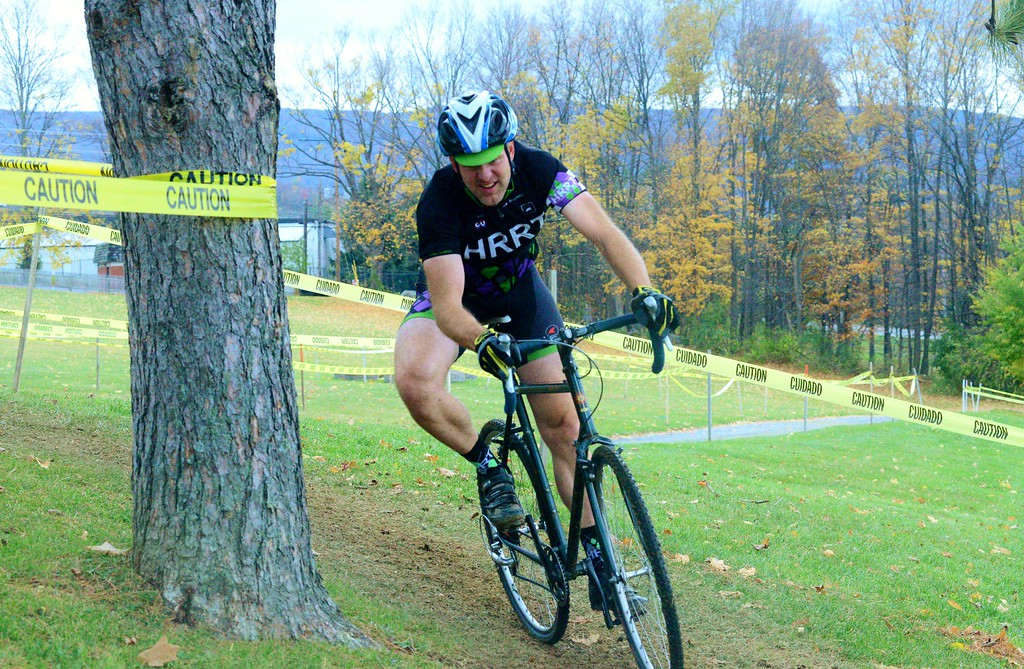 . Tim Payne, Wicked Creepy Cyclocross Race organizer whips around a turn during the NYCross event at Willow Park on Sunday. Oct. 30, 2016. Makayla McGeeney - Bennington Banner.