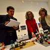 KRISTOPHER RADDER — BRATTLEBORO REFORMER<br /> Judges look at various Lego project creations as they pick the best ones during the 11th annual Lego Awards Ceremony & Exhibit at the Brattleboro Museum and Art Center on Thursday, Nov. 8, 2018.