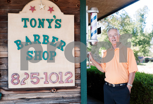 Barber Tony Carter is pictured outside of Tony's Barber Shop Wednesday Oct. 28, 2015. It was Tony Carter's last day of work before retiring from the shop, located at 16355 Farm-to-Market 344 next to the Emerald Bay subdivision. Carter had a barbering career of 52 years and 10 months.   (Sarah A. Miller/Tyler Morning Telegraph)