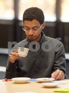 photo by Sarah A. Miller/Tyler Morning Telegraph  Student Fahad Alsuwayhan drinks a cup of tea during Afternoon Tea, a special event Monday at UT Tyler.The event was one of several special events celebrating International Education Week.