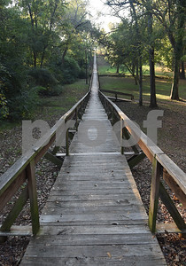 The 546-foot footbridge at Footbridge Garden Park is pictured in Rusk Monday Nov. 14, 2016.  (Sarah A. Miller/Tyler Morning Telegraph)