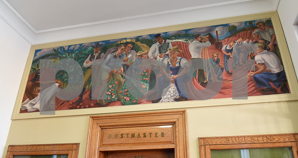 A mural inside the Post Office is pictured in Rusk Monday Nov. 14, 2016.  (Sarah A. Miller/Tyler Morning Telegraph)