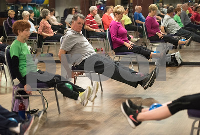 Seniors workout during a Silver Sneakers exercise class for seniors at Premier Fitness in Tyler Nov. 21, 2016.  (Sarah A. Miller/Tyler Morning Telegraph)