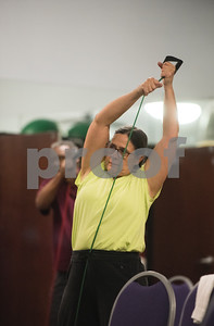 Deborah Lawrence of Tyler during a Silver Sneakers exercise class for seniors at Premier Fitness in Tyler Nov. 21, 2016.  (Sarah A. Miller/Tyler Morning Telegraph)