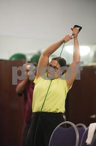 Deborah Lawrence of Tyler during a Silver Sneakers exercise class for seniors at Premier Fitness in Tyler Nov. 21, 2016.  (Sarah A. Miller/Tyler Morning Telegraph)