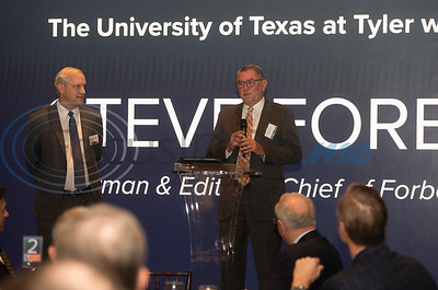 Event co-chairs Bradley Brookshire, left and John Soules Sr., right, speak at a breakfast event called Leaders and Legends at the University of Texas at Tyler on Friday Nov. 2, 2018. Steve Forbes, Chairman and Editor-in-Chief of Forbes Media, was the keynote speaker at the event, which was sponsored by UT-Tyler's Soules College of Business.  (Sarah A. Miller/Tyler Morning Telegraph)