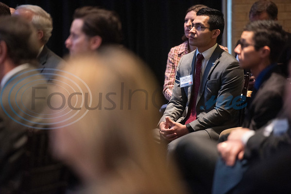 Soules College of Business Ambassador Jesus Quintero listens as Steve Forbes, Chairman and Editor-in-Chief of Forbes Media, left, speaks during a breakfast event called Leaders and Legends at the University of Texas at Tyler on Friday Nov. 2, 2018. Forbes was the keynote speaker at the event, which was sponsored by UT-Tyler's Soules College of Business.  (Sarah A. Miller/Tyler Morning Telegraph)