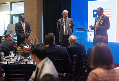 University of Texas at Tyler President Dr. Michael Tidwell, left, listens as event co-chairs Bradley Brookshire, center, and John Soules Sr., right, speak at a breakfast event called Leaders and Legends at the University of Texas at Tyler on Friday Nov. 2, 2018. Steve Forbes, Chairman and Editor-in-Chief of Forbes Media, was the keynote speaker at the event, which was sponsored by UT-Tyler's Soules College of Business.  (Sarah A. Miller/Tyler Morning Telegraph)