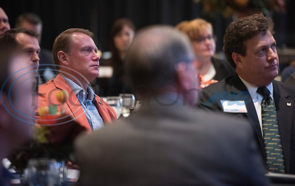 John Soules Jr., at left, listens as Steve Forbes, Chairman and Editor-in-Chief of Forbes Media, speaks during a breakfast event called Leaders and Legends at the University of Texas at Tyler on Friday Nov. 2, 2018. Forbes was the keynote speaker at the event, which was sponsored by UT-Tyler's Soules College of Business.  (Sarah A. Miller/Tyler Morning Telegraph)