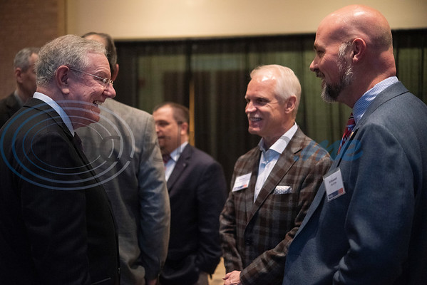 Steve Forbes, Chairman and Editor-in-Chief of Forbes Media, left, greets Tyler City Manager Edward Broussard, right, during a breakfast event called Leaders and Legends at the University of Texas at Tyler on Friday Nov. 2, 2018. Forbes was the keynote speaker at the event, which was sponsored by UT-Tyler's Soules College of Business.  (Sarah A. Miller/Tyler Morning Telegraph)